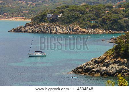 Sailing Yacht And Boats In Tyrrhenian Sea On Elba Island, Italy