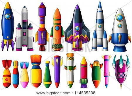Different kind of rocket ships and bombs illustration