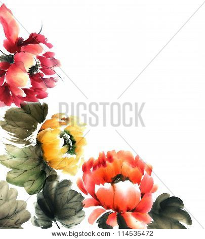 Decorative Greeting Card Background. Flowers Illustration..