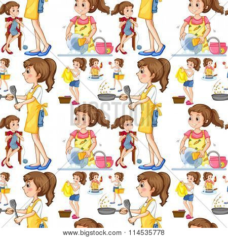 Seamless housewife doing chores illustration
