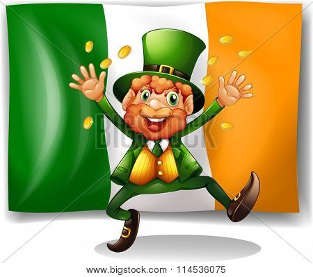 Leprechaun with golden coins by the flag illustration