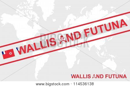 Wallis And Futuna Map Flag And Text Illustration
