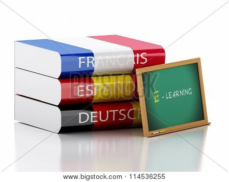 3D Stack Of Dictionaries. Language Learning
