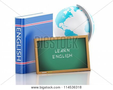 3D Learn English. Education Concept.