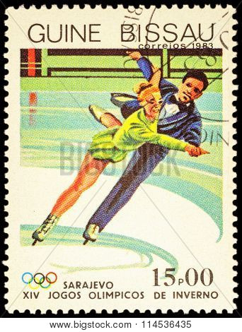 Professional Figure Skaters On Post Stamp