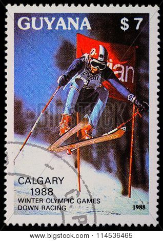 Downhill Skier On Post Stamp