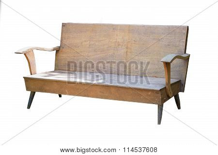 Old Wood Long Arms Chair Isolated On White Background..