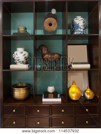classic cupboard in modern living room