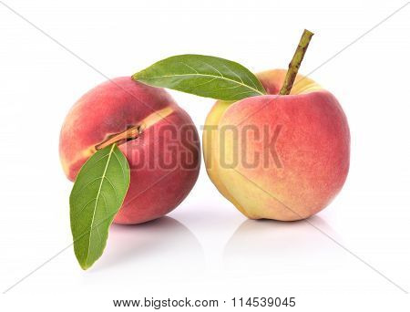 Fresh Peaches Fruit On White Background