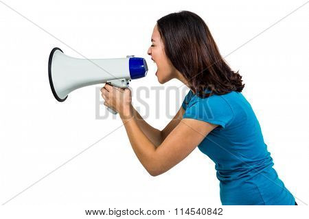 Woman shouting through megaphone on white background