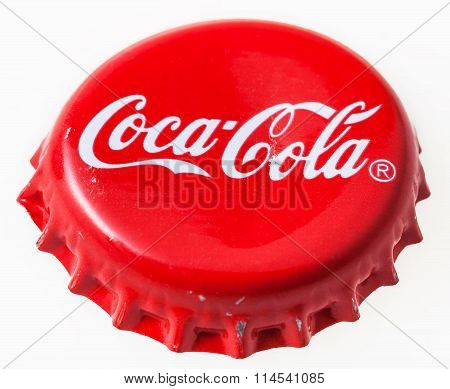 Used Red Crown Cap From The Bottle Of Coca-cola