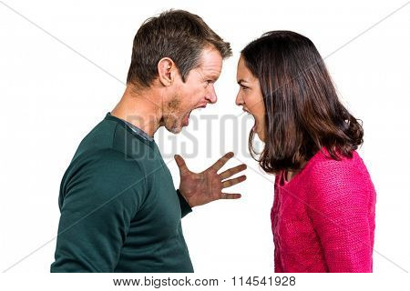 Side view of couple fighting against white background