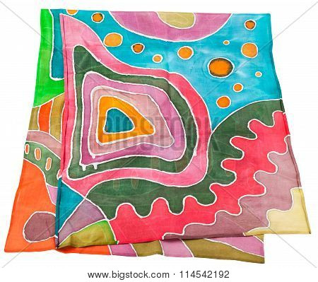 Batik Silk Scarf With Abstract Geometric Pattern