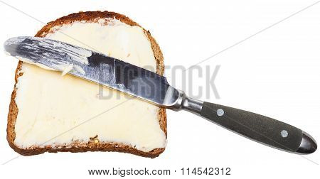 Grain Bread And Butter Sandwich With Table Knife