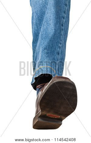Front View Of Left Leg In Jeans And Brown Shoe