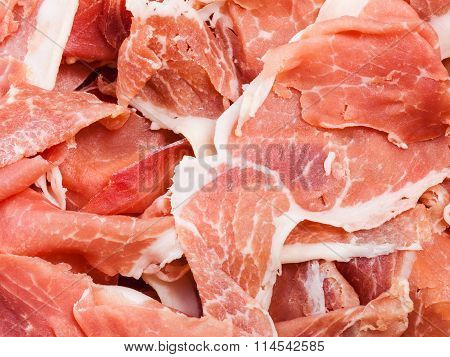 Thin Slices Of Dry-cured Ham Close Up