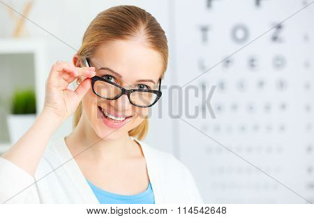 Eyesight Check. Woman In Glasses At Doctor Ophthalmologist Optician