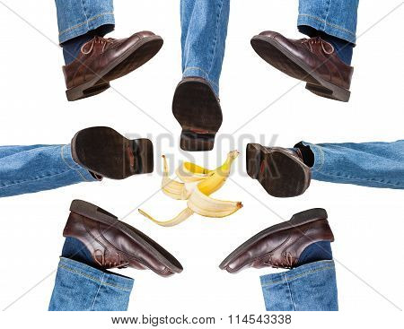 Male Legs In Jeans And Brown Shoes Take Steps