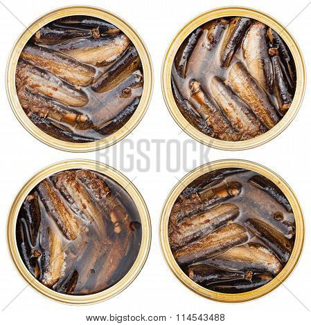 Set Of Canned Smoked Sprats Fish In Oil In Tin