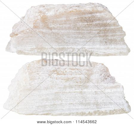 Two Pieces Of Talc Mineral Stone Isolated