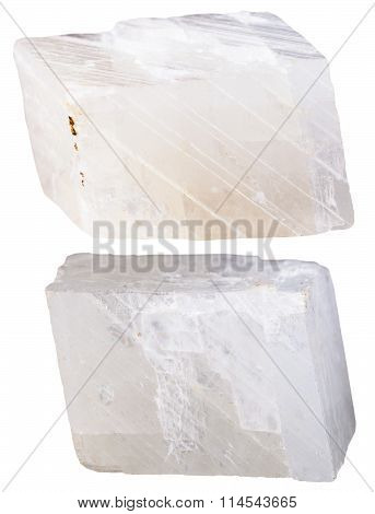 Two Pieces Of White Calcite Mineral Stone