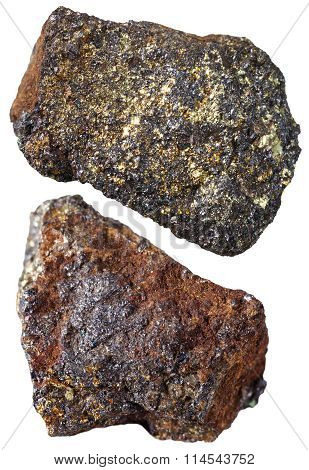 Two Pieces Of Magnetite Mineral Stone Isolated