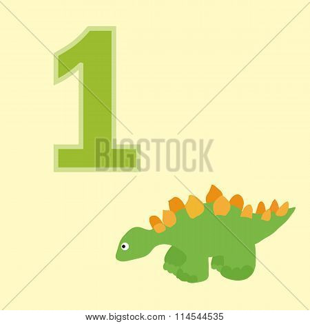 Number One. One Dinosaur (stegosaurus).