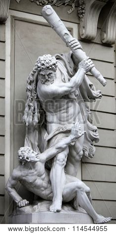 VIENNA, AUSTRIA - DECEMBER 09, 2009: Statue of Hercules and Busiris created by Matthiell, Vienna, Austria on December 09, 2009