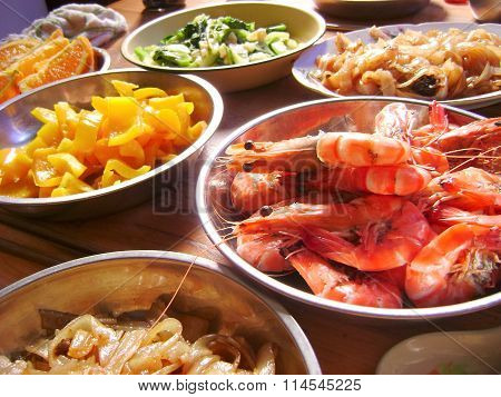 Chinese food seafood shrimp banquet