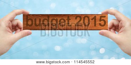 Hands Holding A Wood Engrave With Word Budget 2015