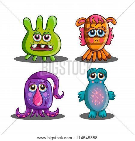 Set Of Cute Cartoon Monsters-2