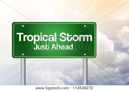 Tropical Storm Green Road Sign Concept
