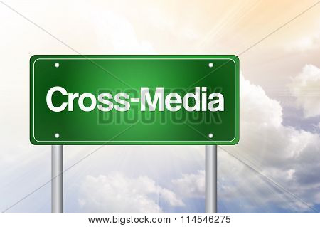 Cross-media Green Road Sign, Business Concept
