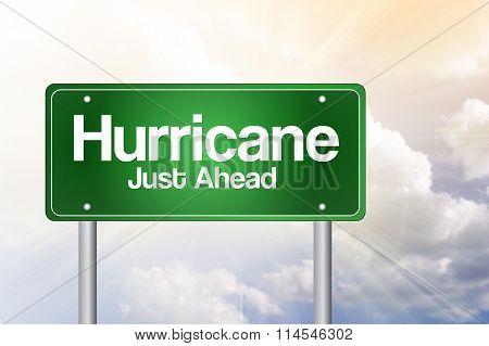 Hurricane Green Road Sign concept, presentation background