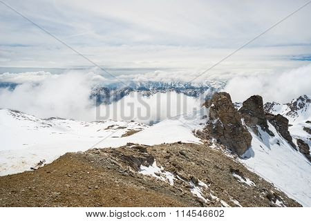 Mountain Peaks And Snowcapped Ridges In The Alps