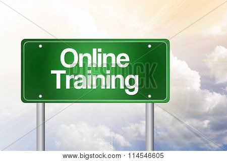 Online Training Green Road Sign, presentation background