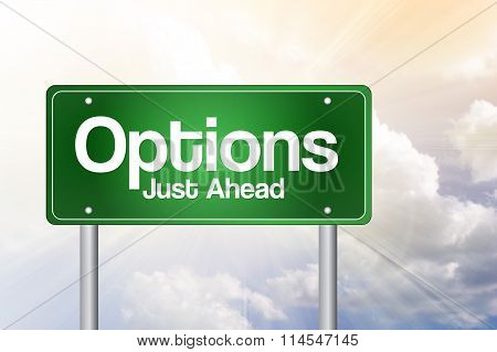 Options Green Road Sign, Business Concept