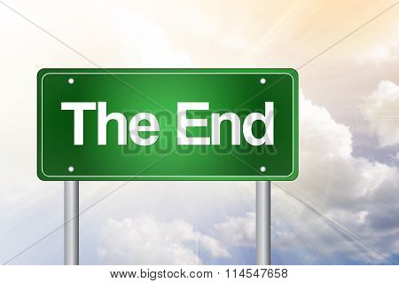 The End Green Road Sign, Business Concept