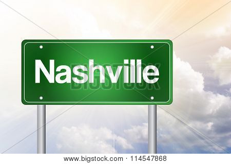 Nashville Green Road Sign, Travel Concept
