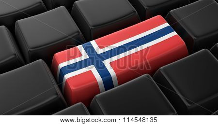 Key with Norwegian flag