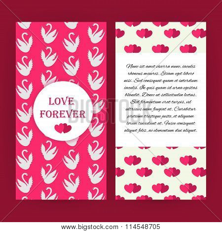 Love Forever Pink Flyer Brochure With White Swans