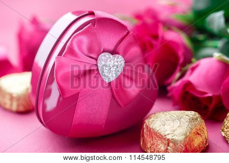 Gift Box, Pink Roses And Candy, Closeup. Valentines Day
