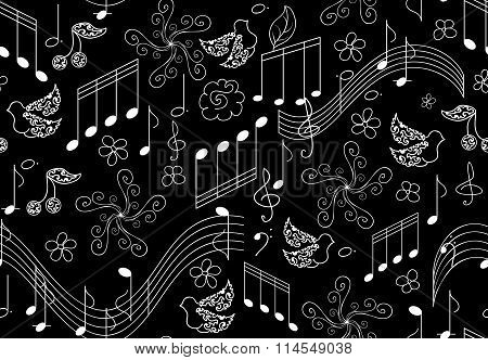 Beautiful vector seamless pattern with singing birds and musical notes