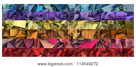 3D Abstract Modern Sculpture In Bright Rainbow Color