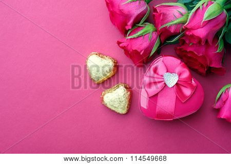 Pink Roses And Gift With Copyspace.
