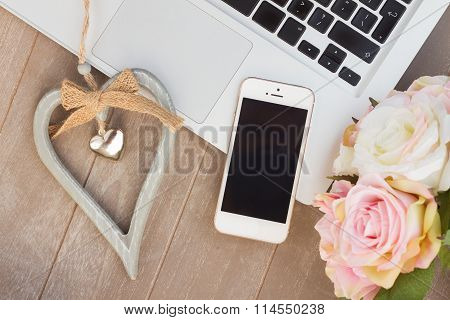 styled desktop with modern phone