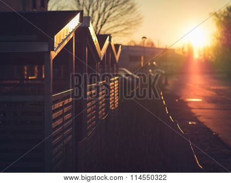 Morning Sun on Bicycle Storage Sheds in Lund, Sweden