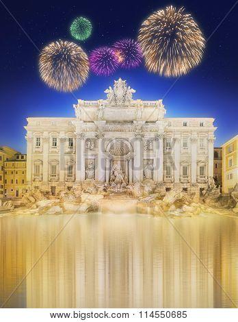 Trevi Fountain illuminated at night with beautiful fireworks