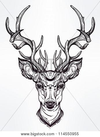 Deer head in line art style.