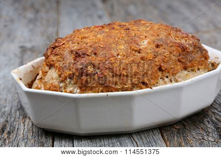 Whole baked meatloaf